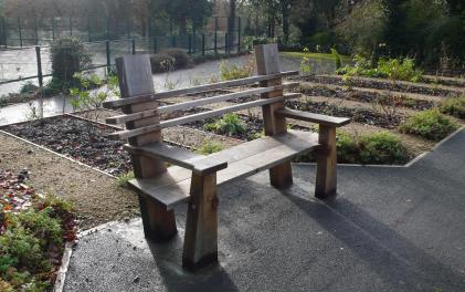 Formal bench in autumn