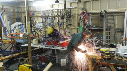 Art bike workshop in action